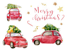 Watercolor Illustration Red Retro Car With A Fir Tree And Gifts In Different Racurses. Christmas Vector Objects Set. Composition Happy New Year. Illustration Of Tree Decoration, Xmas Card Background