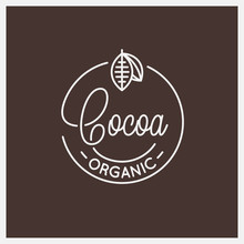 Cocoa Lettering Logo. Round Linear Logo Of Cocoa