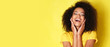 canvas print picture - Super happy afro-american girl isolated on yellow background.