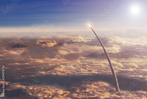 Space shuttle in the upper atmosphere Canvas Print