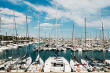 Sailboats Moored In Sunny Olympic Harbor, Barcelona, Spain