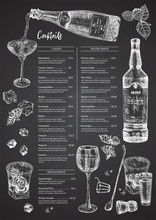 Cocktail Bar Menu Design Template Set In Retro Style Isolated On On Black Chalckboard Background. Hand Drawn Glass And Bottle Champagne. Vintage Wine Card. Alcohol Beverage Symbol.
