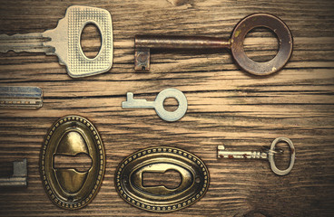 old keys and keyholes
