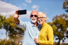 Senior Couple Taking Selfie Ha...