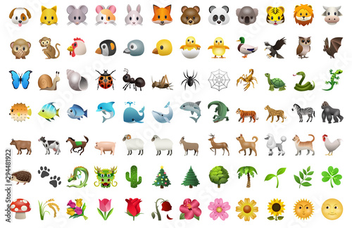 Emoji of animals and plants and nature pack set icons for apps and social media © Gleb