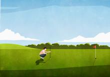 Male Golfer Preparing Tee Shot...