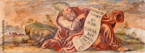 TAORMINA, ITALY - APRIL 9, 2018: The fresco of prophet Habakkuk church Chiesa di San Guseppe.