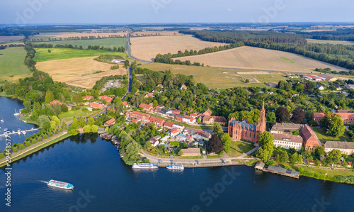 Montage in der Fensternische Blaue Nacht Aerial panoramic view of the beautiful town of Malchow in the Mecklenburg Lake District, Germany