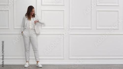 Happy Businesswoman In White