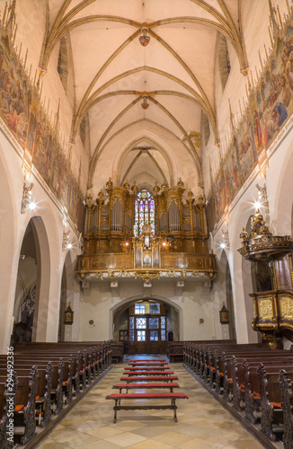 TRNAVA, SLOVAKIA - OCTOBER 14, 2014: The nave of the gothic St. Nicholas church and the organ.