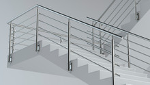 Stairs And Stainless Steel Railing V3, 3D Illustration