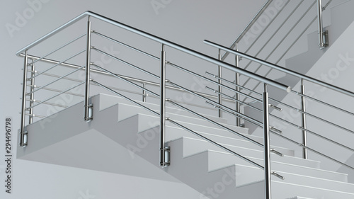 Stairs and stainless steel railing v3, 3D illustration Fototapete