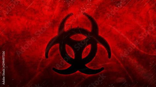 Abstract biohazard symbol dark red background Canvas Print