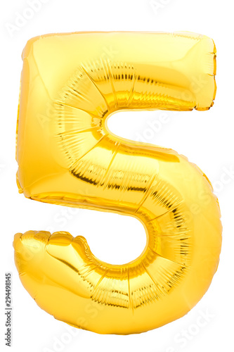 Pinturas sobre lienzo  Golden number 5 made of inflatable balloon isolated on white background