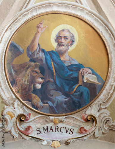 BELAGGIO, ITALY - MAY 10, 2015: The freso of St. Mark the Evangelist in church Santa Maria Annunciata (Visgnola) Luigi Morgari (20. cent.).