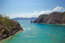 The Small Natura Bay Between The Cliffs Of Tortuga And Alcatras Island In The Nicoya Gulf Of Costa Rica