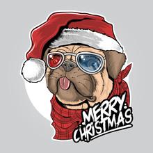 PUG PUPPY DOG SANTA CLAUS CHRI...