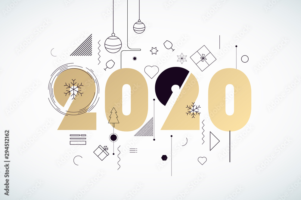 Fototapeta Happy New Year 2020. Vector illustration concept for background, greeting card, website and mobile website banner, party invitation card, social media banner, marketing material.