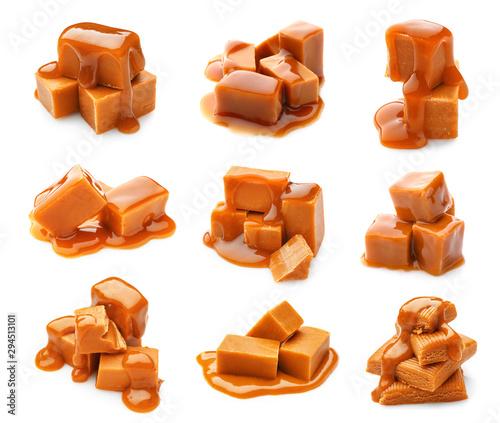 Fotomural Tasty sweet caramel on white background