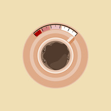 Editable Top View Coffee Cup Vector Illustration As Fuel Level For Recharging Strength Concept