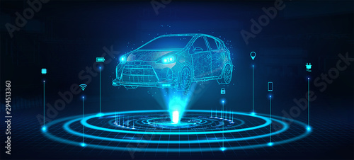Hologram auto, futuristic polygonal model auto. Smart auto ai.  Wireframe in line low-poly style. Smart automobile. Vector illustration in futuristic style - 294513360