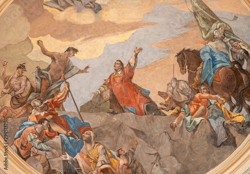 MALCESINE, ITALY - JUNE 13, 2019: The ceiling fresco of Stoning of St. Stephen in church Chiesa di Santo Stefano by Odoardo Perini (1750).