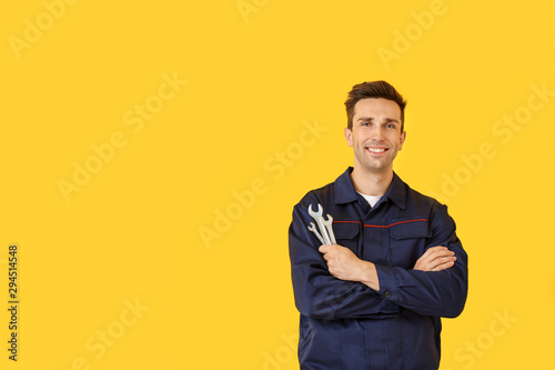 Male car mechanic on color background Poster Mural XXL