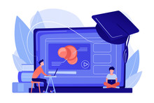 Students Using E-learning Platform Video On Laptop And Graduation Cap. Online Education Platform, E-learning Platform, Online Teaching Concept. Pinkish Coral Bluevector Isolated Illustration