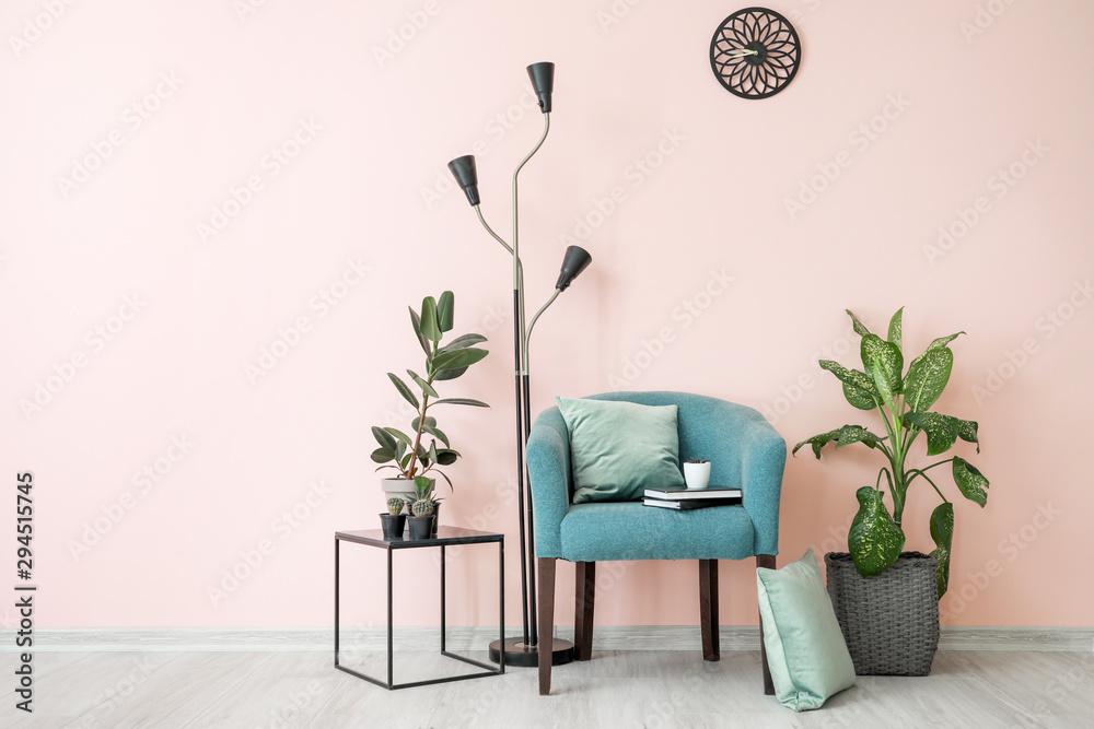 Fototapeta Stylish interior of room with beautiful houseplants