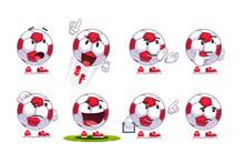 Cartoon Soccer Ball Emoticons Set. Football Fan