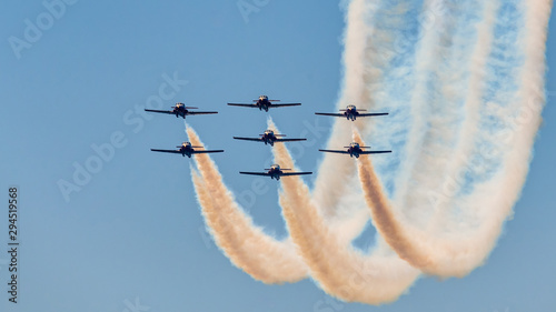 The Canadian snowbirds Squadron coming out of a 360 Fototapeta