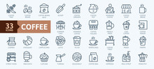 Coffee Maker, Coffee House, Coffee Shop Elements - Minimal Thin Line Web Icon Set. Outline Icons Collection. Simple Vector Illustration.