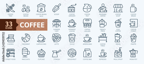 Coffee maker, coffee house, coffee shop elements - minimal thin line web icon set Canvas Print