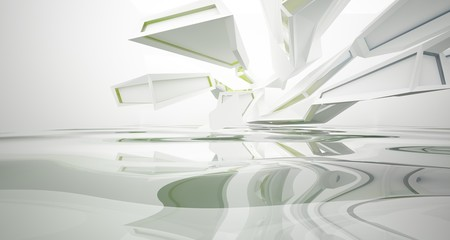 Abstract architectural white and glass gradient color interior of a minimalist house with water. 3D illustration and rendering.