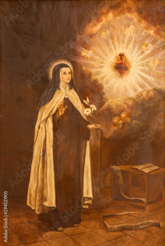 PALMA DE MALLORCA, SPAIN - JANUARY 29, 2019: The painting of St. Teresa of Avila in the church Iglesia de Santa Maria Magdalena
