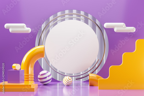 3d scene render of abstract geometric shape purple background accent. Illustration 3d rendering graphic design and white circle text copy space with yellow tube, ball sphere, cloud in minimal styles.