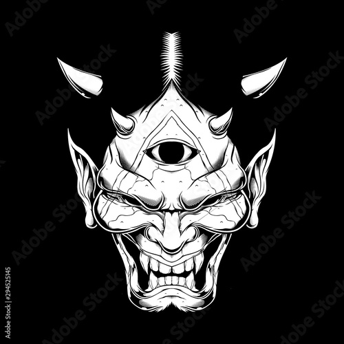 grunge style Cartoon demon face satan or Lucifer with horns Wallpaper Mural