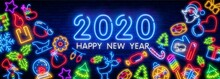 Set Of Christmas And New Year Icons In A Flat Style With Neon Effect. Transparent Glow Effect. Brick Wall Background.