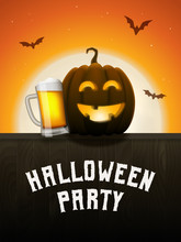 Pumpkin Beer Halloween Party Poster. Drunk Jack-o-lantern With Beer Mug. Scary Background With Moon And Flying Bats At Night. Vector Greeting Card Or Invitation To A Party