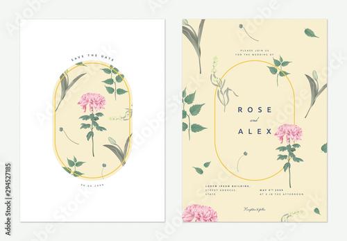 Flowers and foliage wedding invitation card template design, Chrysanthemum morif Fototapet