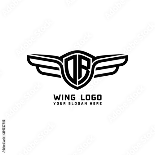 Cuadros en Lienzo DR initial logo wings, abstract letters in the middle of black
