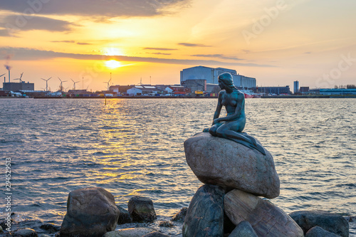 Copenhagen sunrise city skyline at Little Mermaid Statue, Copenhagen Denmark Wallpaper Mural
