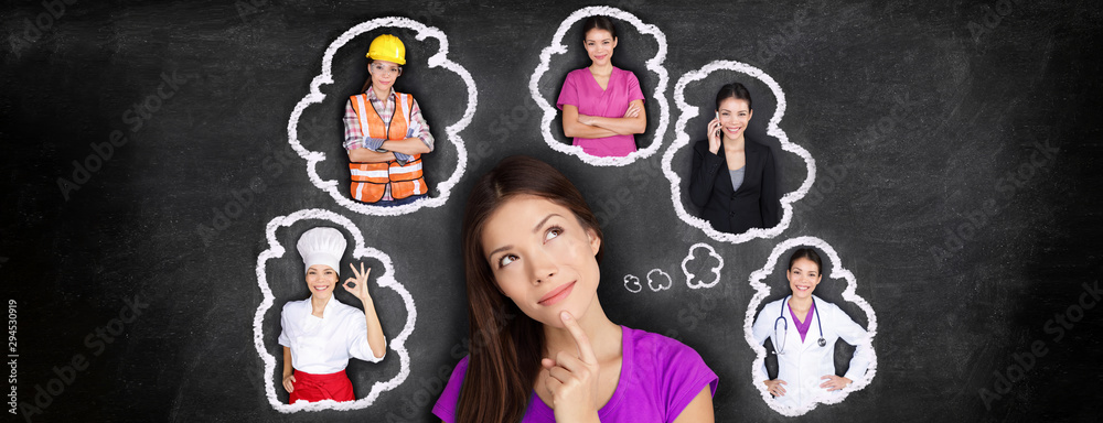 Fototapeta Career choice options student thinking of future job choosing college education for work. Young Asian woman dreaming of choices looking up at thought bubbles on blackboard with different professions.