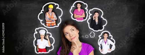Obraz Career choice options student thinking of future job choosing college education for work. Young Asian woman dreaming of choices looking up at thought bubbles on blackboard with different professions. - fototapety do salonu