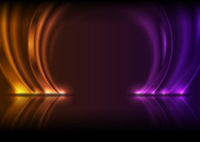 Violet And Orange Neon Laser Circle Arches With Reflection. Abstract Ring Technology Retro Background. Futuristic Glowing Electric Graphic Design. Modern Vector Illustration