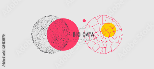 Fototapeta Sphere with connected lines and dots. Global digital connections. Abstract 3d grid design. Technology style. Vector composition for cover, poster, flyer or banner. obraz