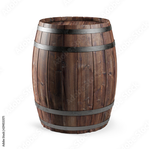 Fényképezés Wooden barrel isolated on white background.  3d illustration