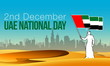 illustration banner with Arab character holding an UAE flag in his hand against the background of the silhouette of the city of Abu Dhabi. National day Spirit of the union United Arab Emirates design