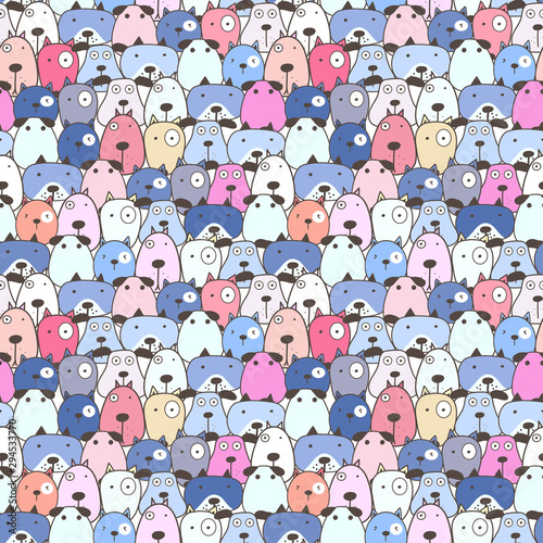 fototapeta na drzwi i meble Cute dog seamless pattern background. Vector illustration.