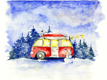 Christmas Card / Funny Red Hou...